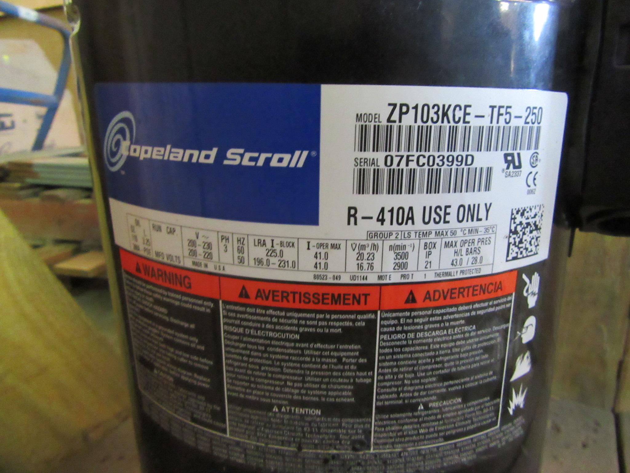 NEW SURPLUS 8 5 TON COPELAND SCROLL COMPRESSOR MODEL ZP103KCE-TF5-250